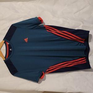 Adidas climacool teal tshirt with contrasting orange three stripes men's medium